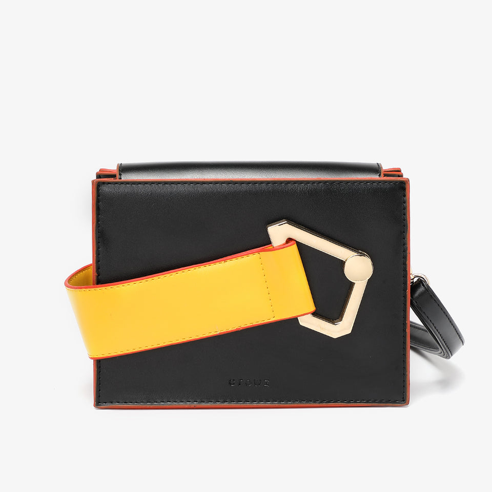 Colourblock handle boxy PU leather bag in black