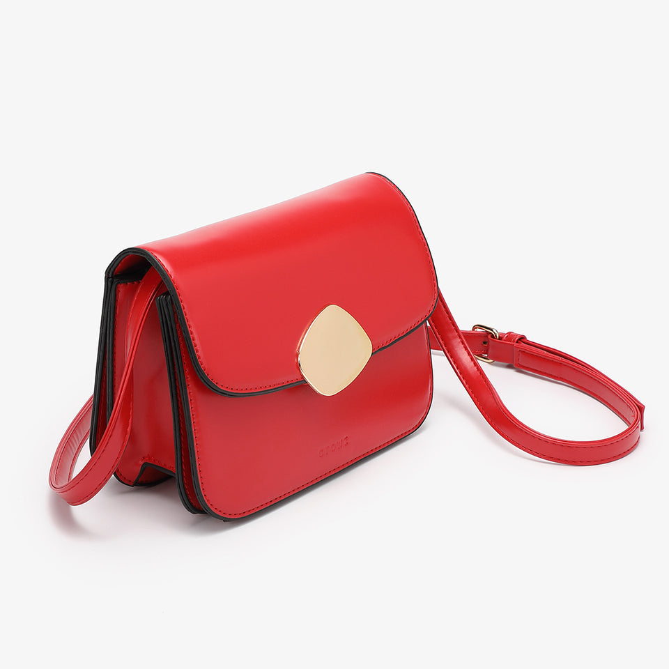 Abstract hardware flap crossbody bag in red