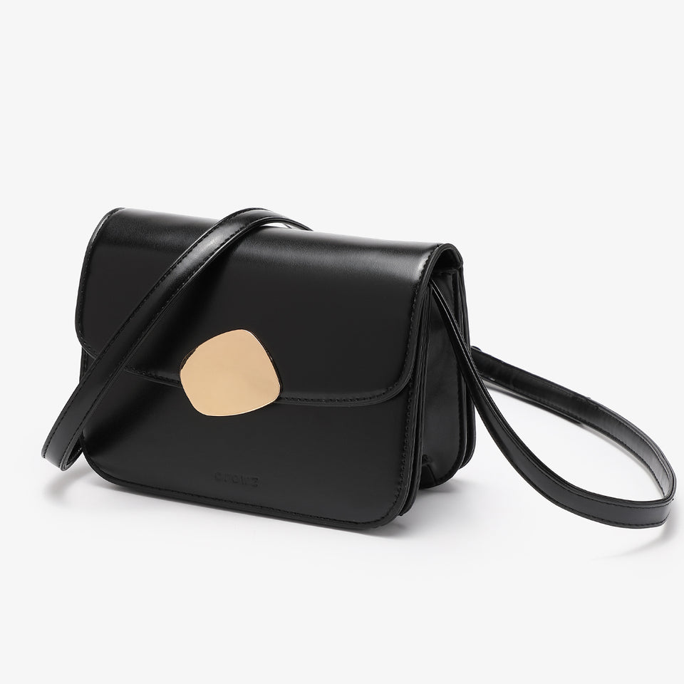 Abstract hardware flap crossbody bag in black