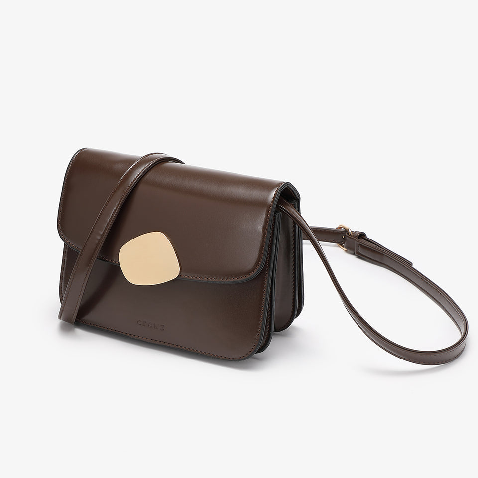 Abstract hardware flap crossbody bag in brown