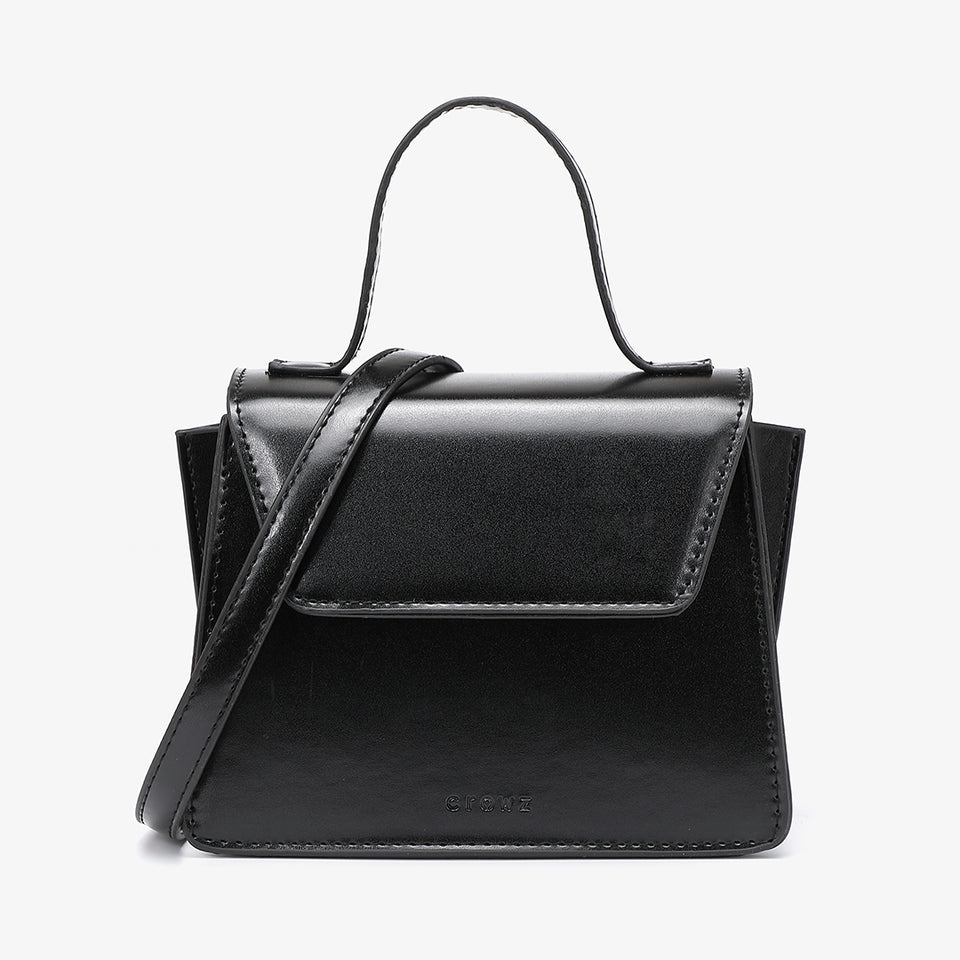 Top handle boxy PU leather crossbody bag in black