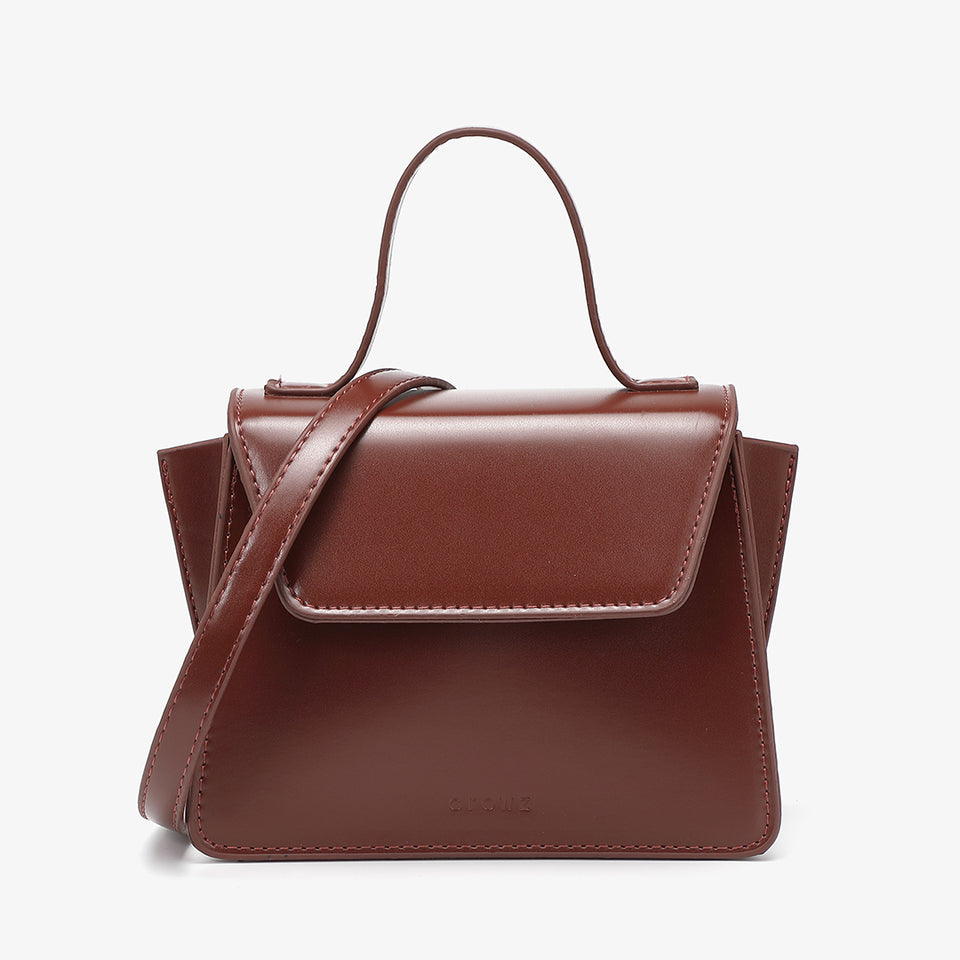 Top handle boxy PU leather crossbody bag in burgundy