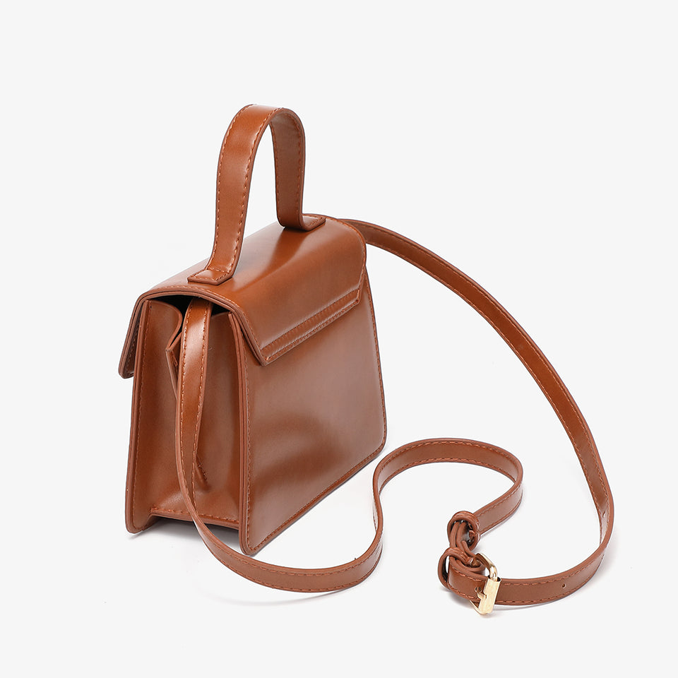 Top handle boxy PU leather crossbody bag in brown