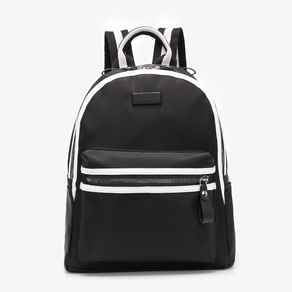 Striped nylon backpack in black