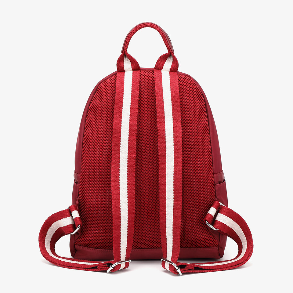 Striped nylon backpack in red