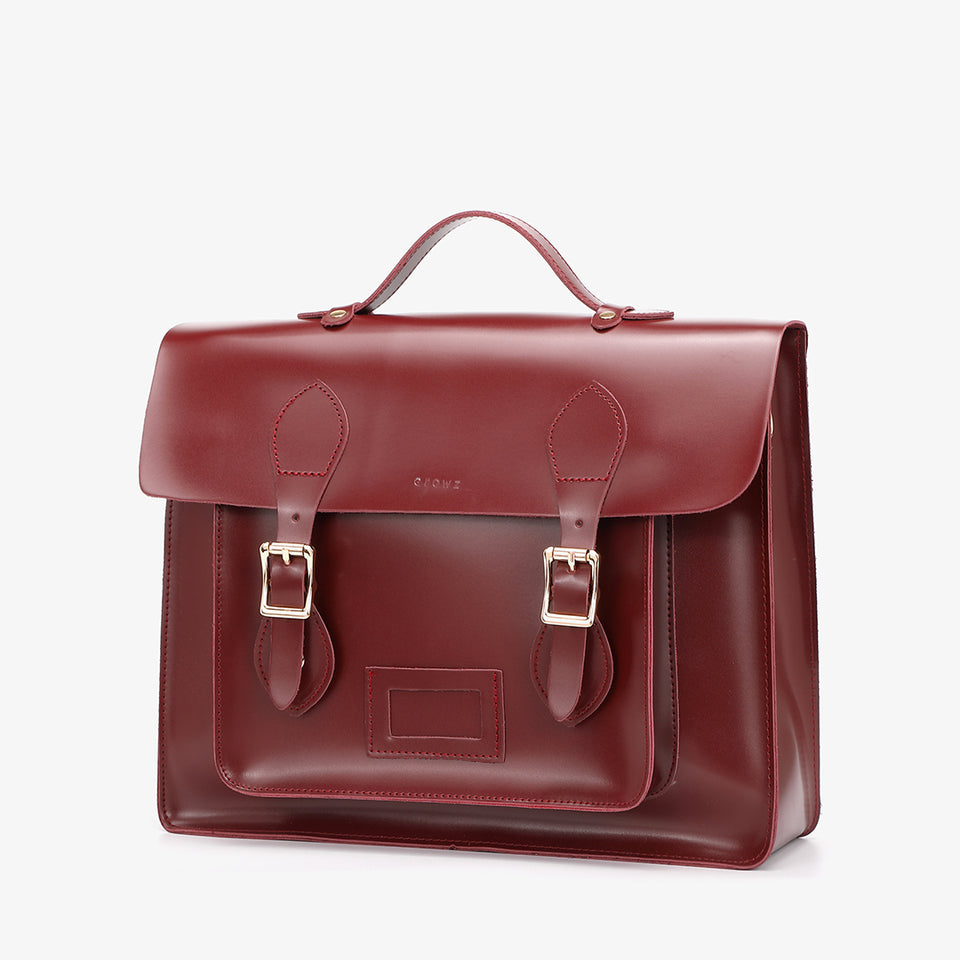 3-way multipurpose PU leather satchel bag in burgundy