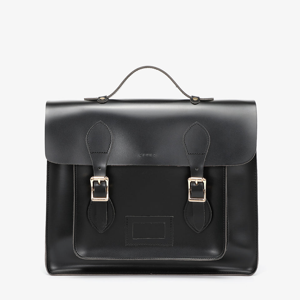 3-way multipurpose PU leather satchel bag in black
