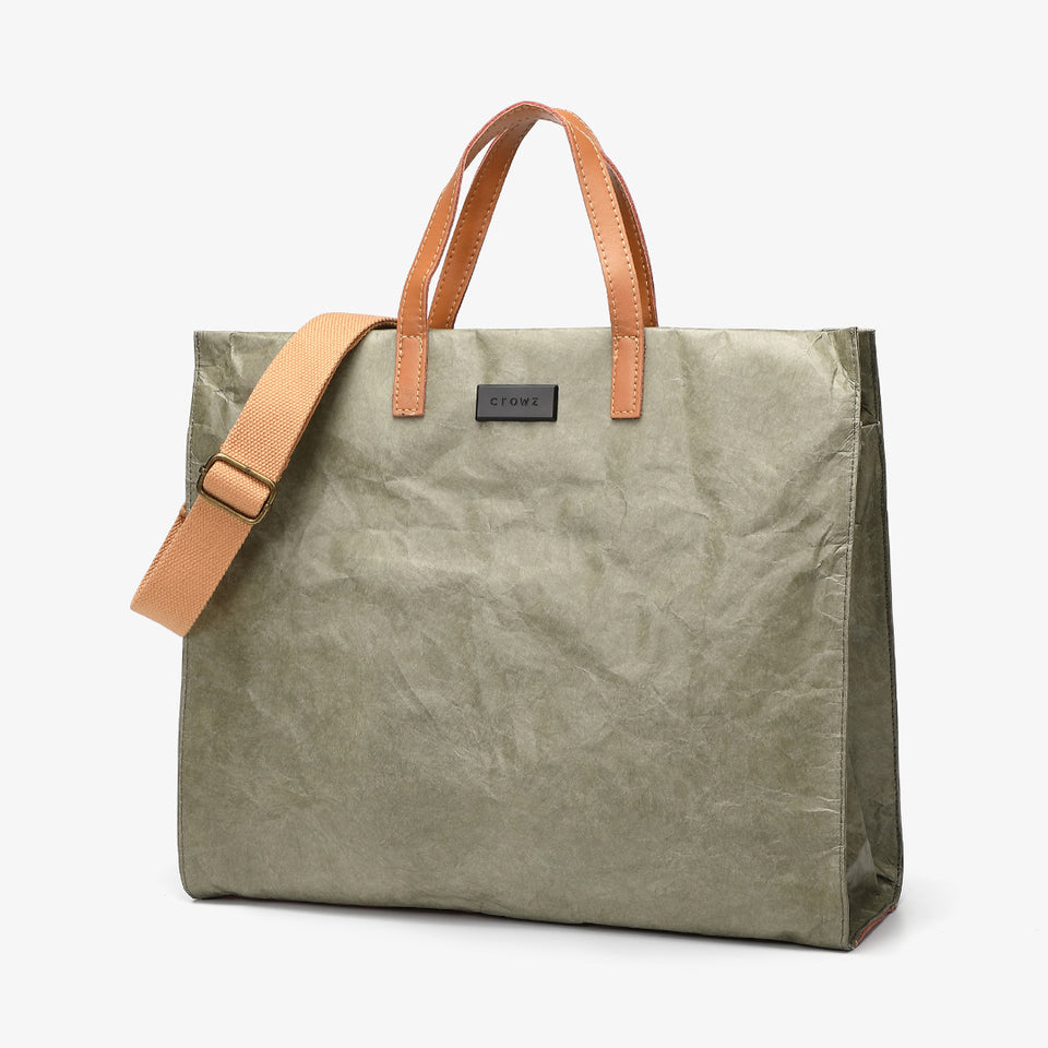 Large creased shopper tote in green