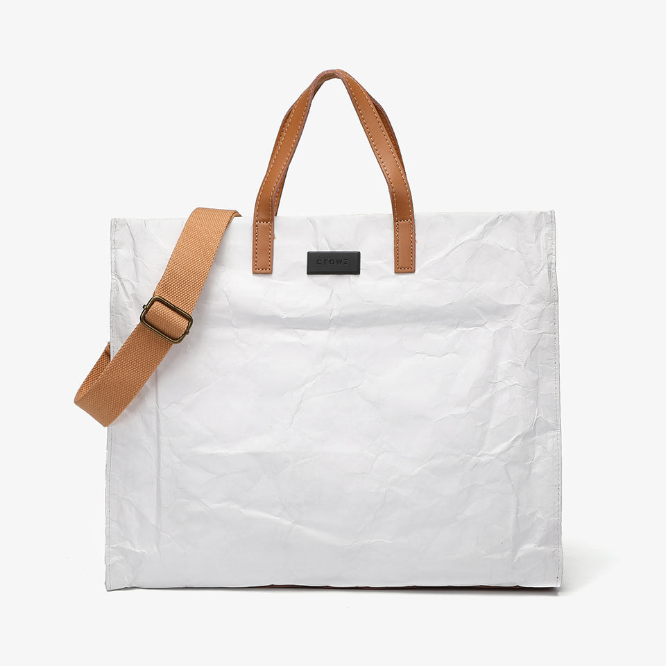 Large creased shopper tote in white