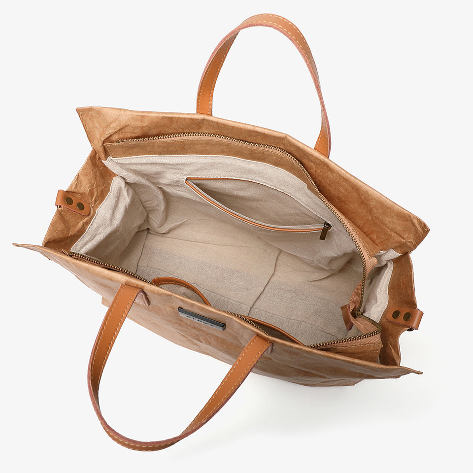 Large creased shopper tote in khaki