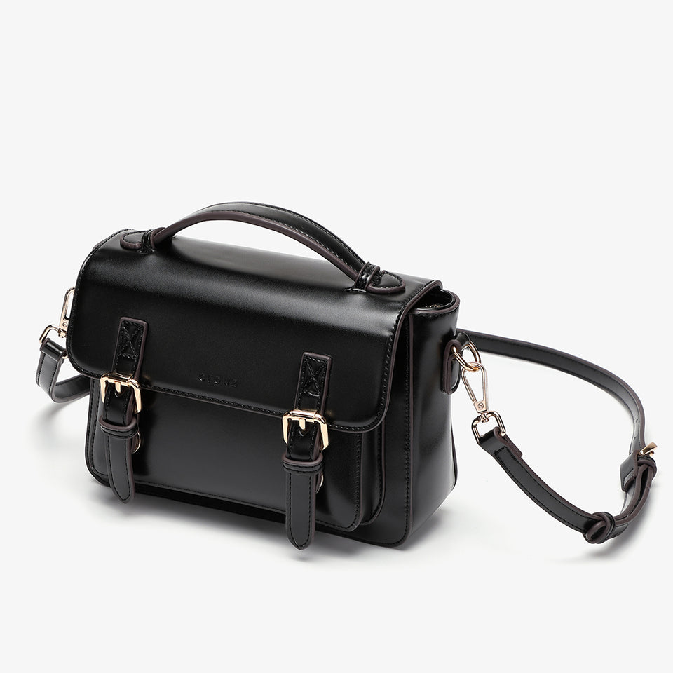 Buckled strap PU leather satchel bag in black