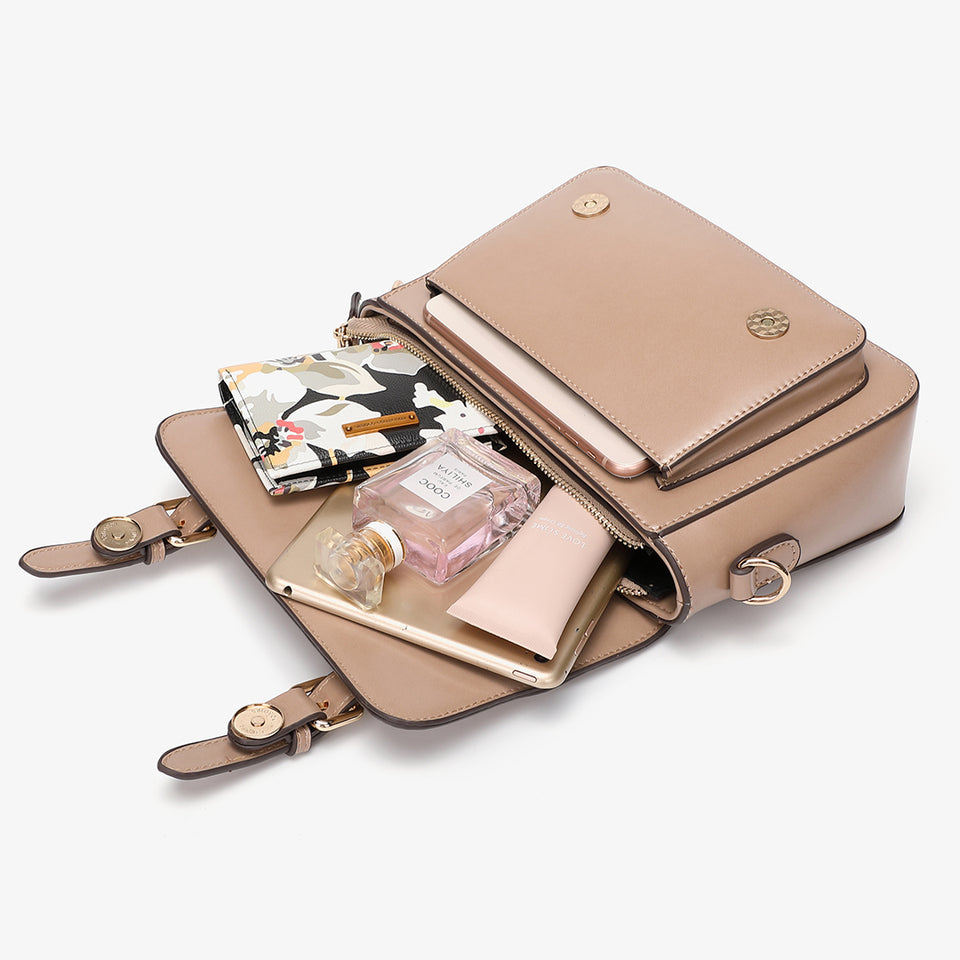 Buckled strap PU leather satchel bag in beige