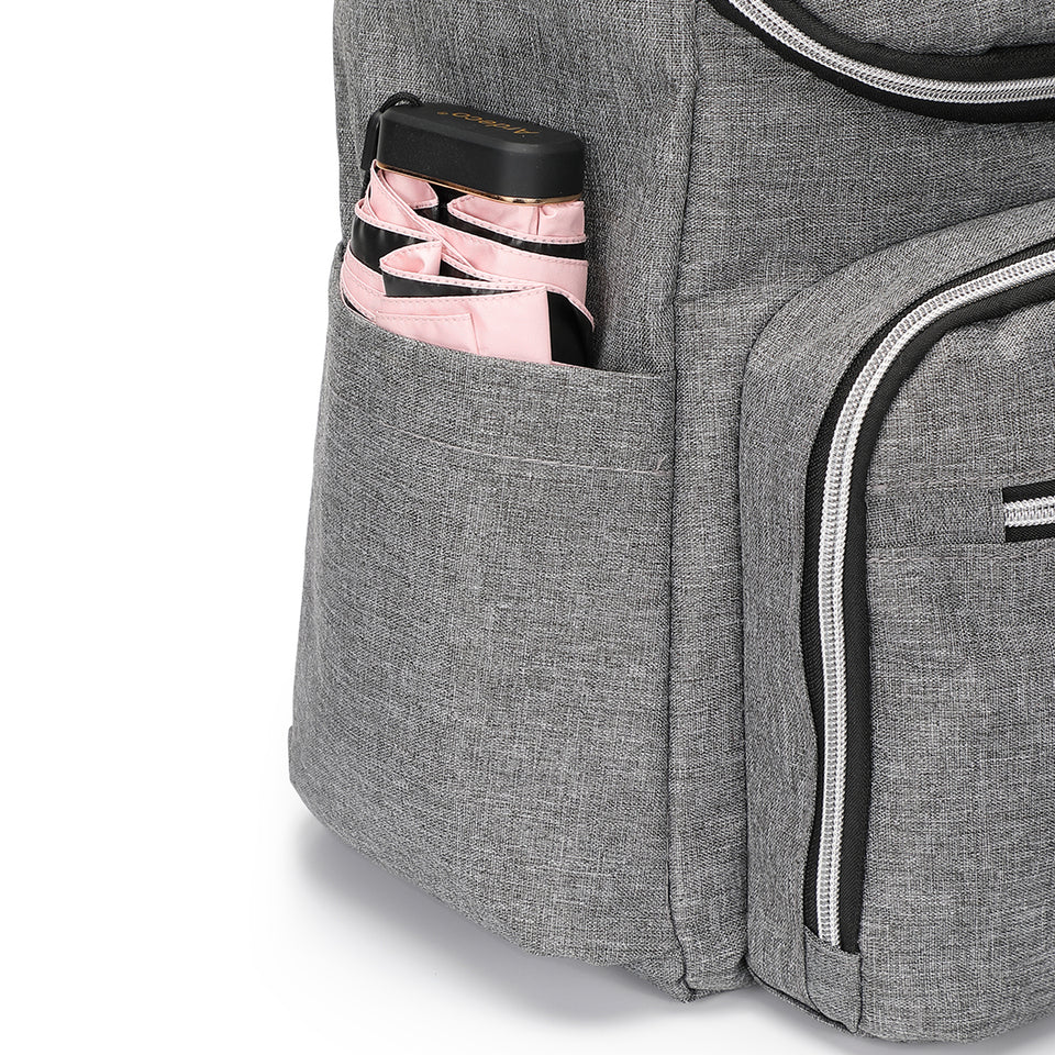 Functional nylon backpack in grey
