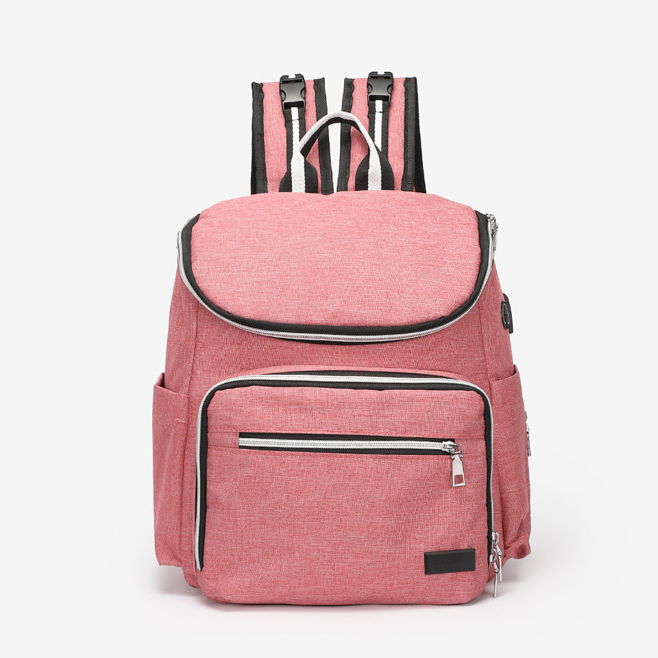 Functional nylon backpack in pink