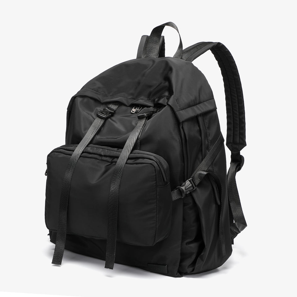 Buckle clip strapped nylon backpack in black