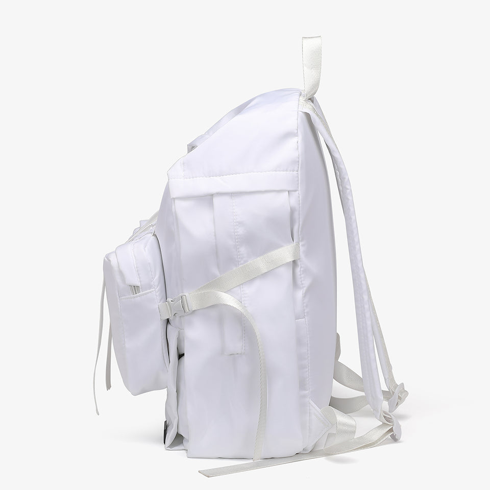 Buckle clip strapped nylon backpack in white