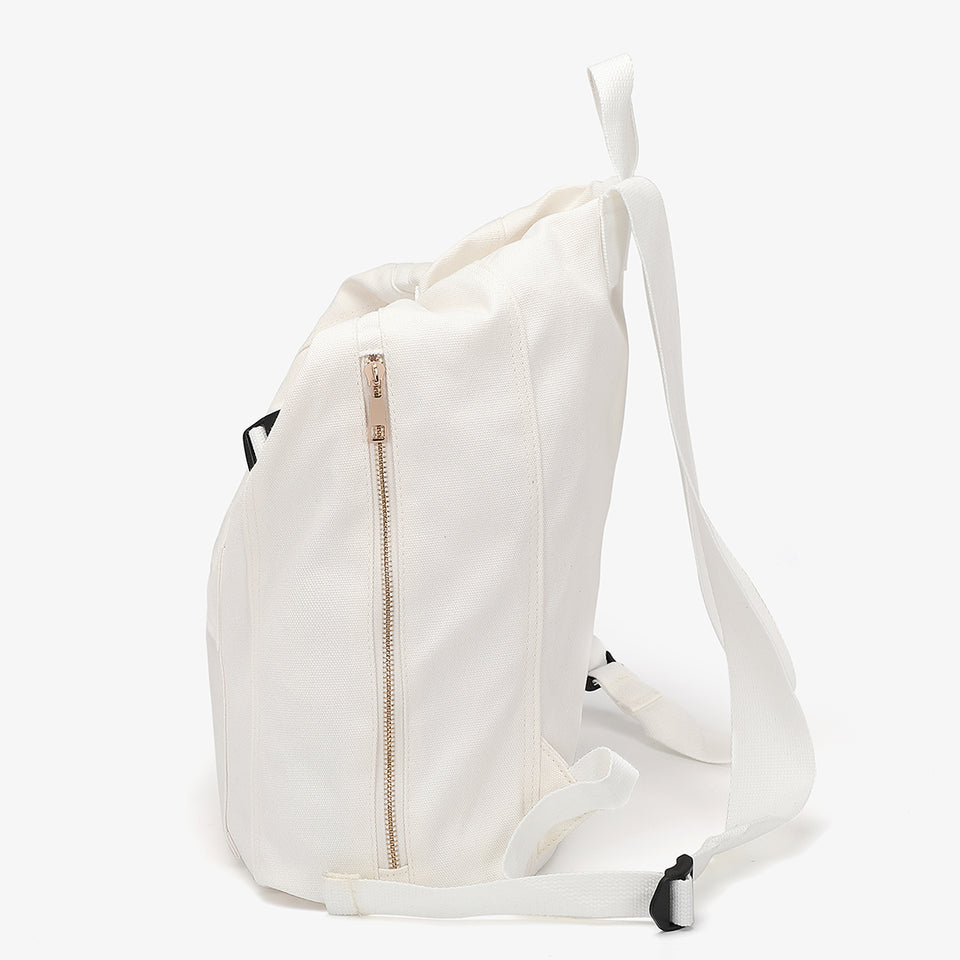 Buckle strap folded corners canvas backpack in white