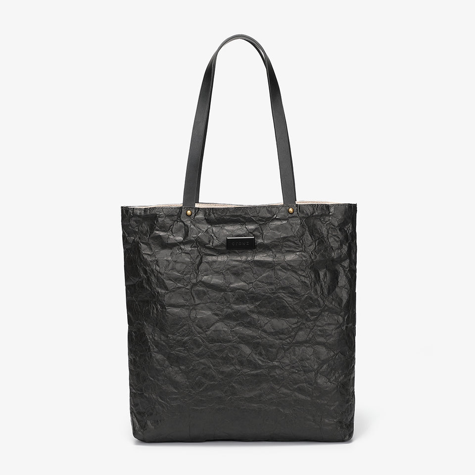 Creased PU leather shopper bag in black