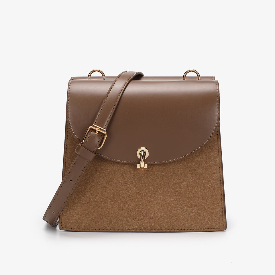 Loop turn lock convertible crossbody bag in brown
