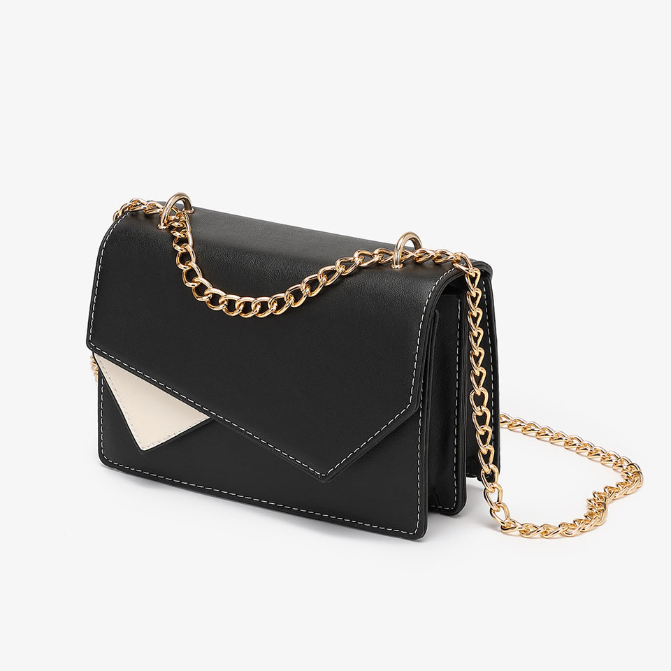 Asymmetric geometric colourblock crossbody bag in black