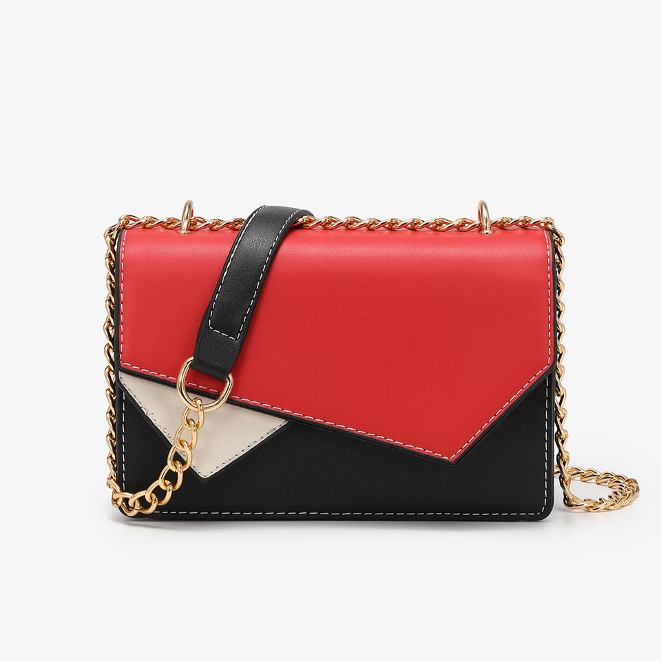 Asymmetric geometric colourblock crossbody bag in red