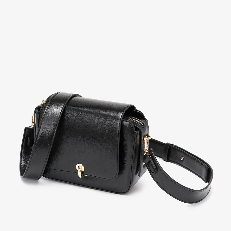 Loop turn lock boxy crossbody bag in black