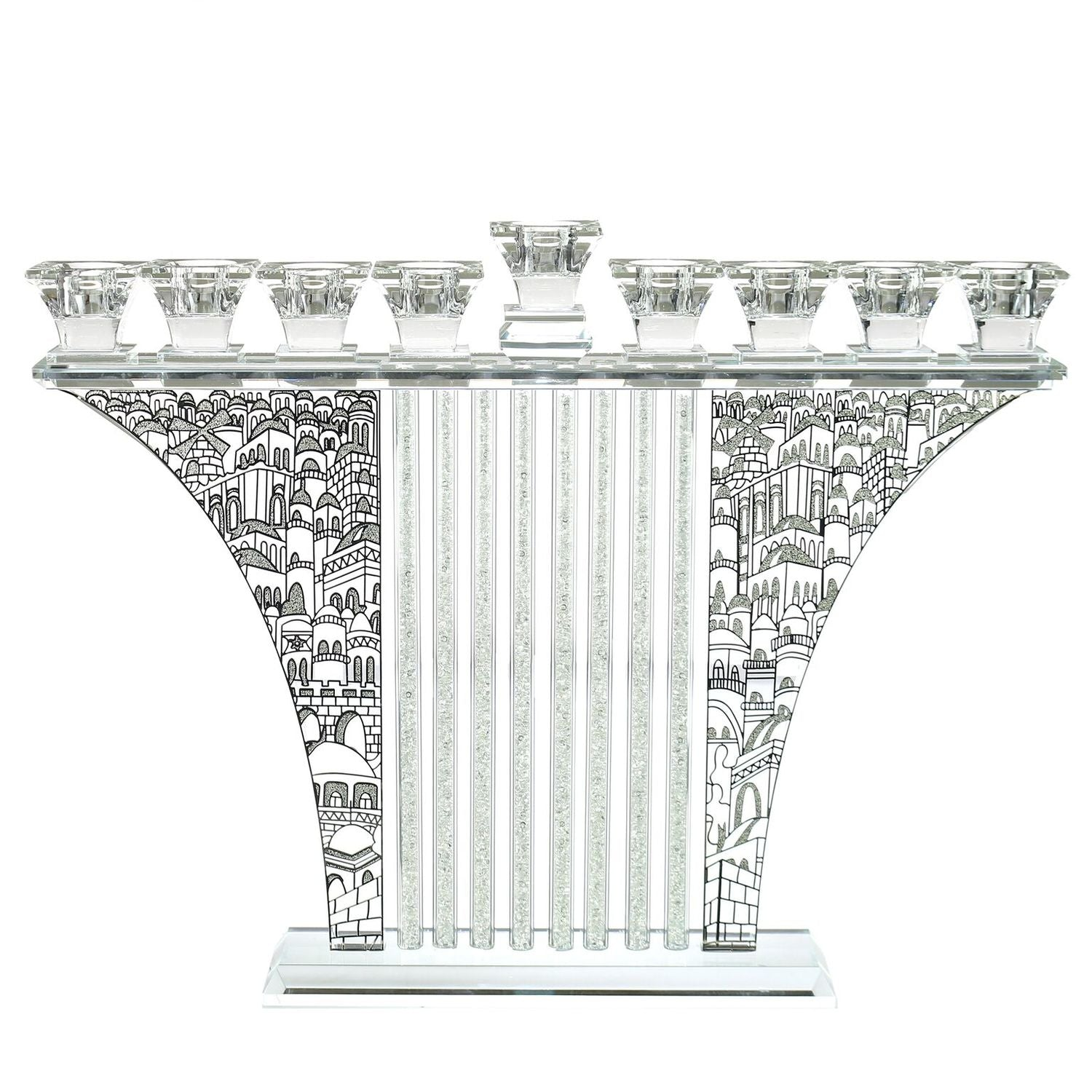 Crystal Menorah with Jerusalem Silver and Stones 11.4