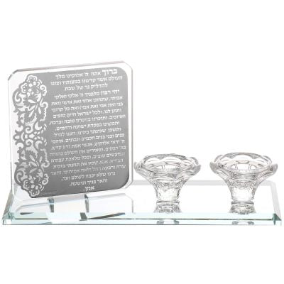 Crystal Candle Holder With Hadlakat Neroth Prayer