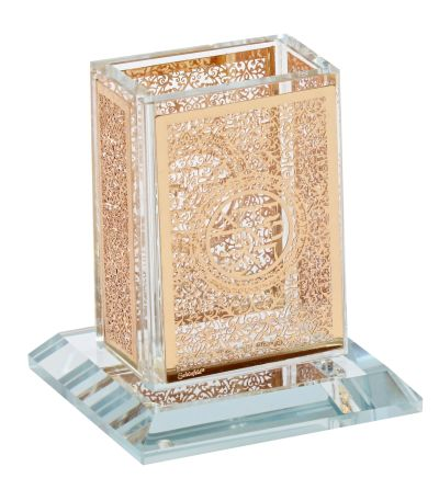 Crystal Havdalah Holder With Gold Plate 3x3.5