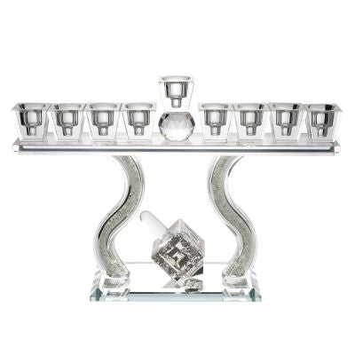 Crystal Menorah with Stones With Dreidel Jerusalem Silver Plate