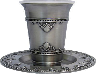 Kiddush Cup With Plate - Pewter