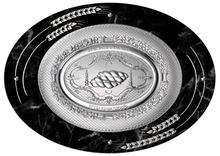 Load image into Gallery viewer, Camilletti Oval Challah Tray With 925 sp Silver Black Marble With Silver Barley Design