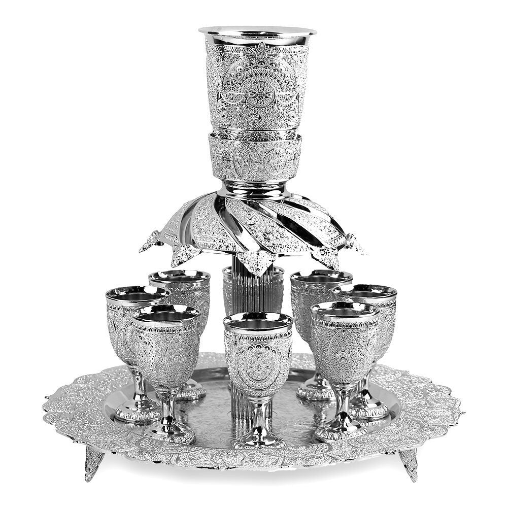 Fountain Set Filigree Design Silver Plated 8 Cups