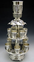 Load image into Gallery viewer, Silver Plated Wine Fountain 2 Tier With 12 Cups