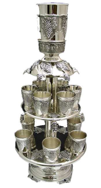 Silver Plated Wine Fountain 2 Tier With 12 Cups