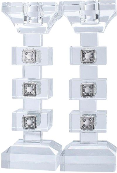 Set of 2 Candle Stick Crystal & Silver Cubes 7