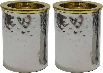 Stainless Steel Hammered Candle holders With Gold 3
