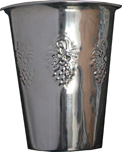 Kiddush Cup Silver Plated with Grape Design