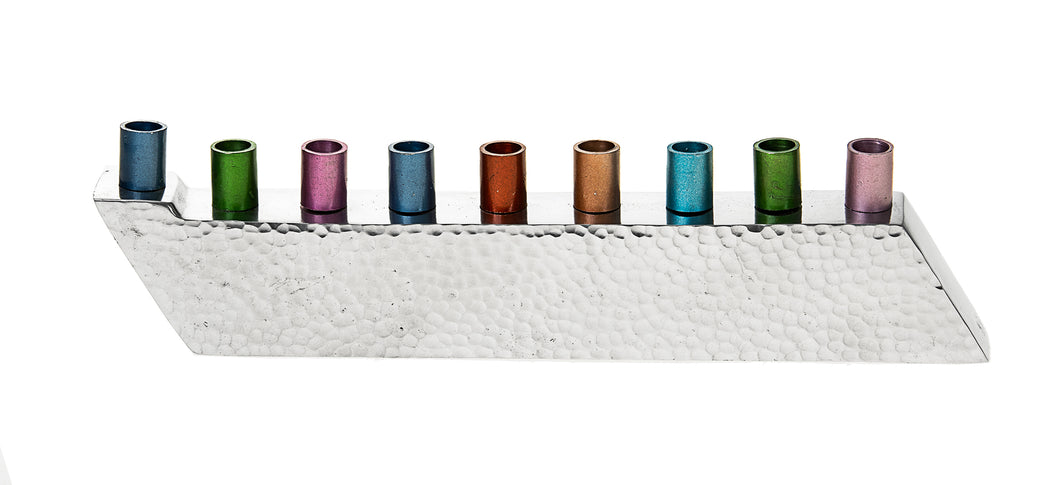 Hammered with colorful candle holders