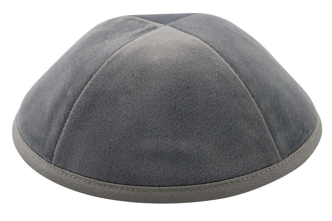 Ikippah Light Grey Velvet Yarmulka