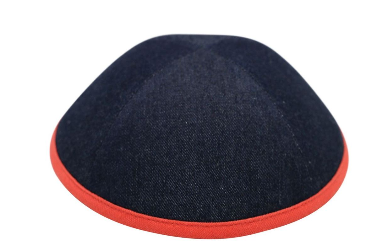 Ikippah Denim With Orange Rim Yarmulka