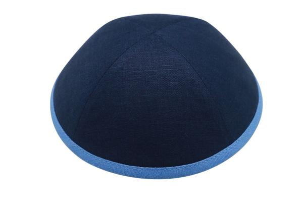 Ikippah Navy Linen With blue Sky Rim