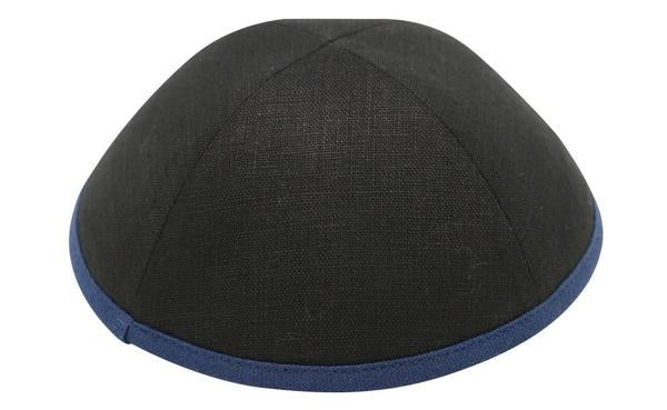 Ikippah Black Linen With Navy Rim