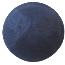 Load image into Gallery viewer, Navy Linen Kippah