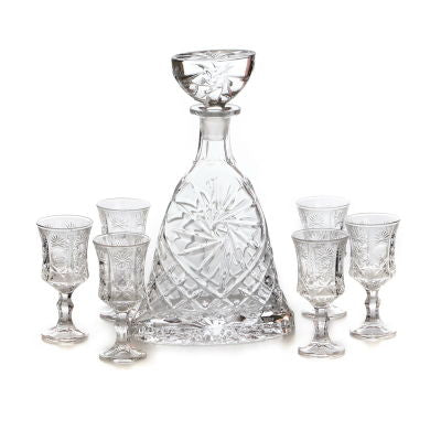 Sunflower Decanter S/7 Bottle+6 glasses
