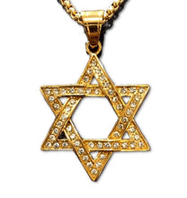 Load image into Gallery viewer, Gold Jeweled Star Of David Necklace