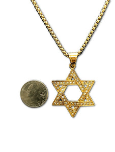 Gold Jeweled Star Of David Necklace