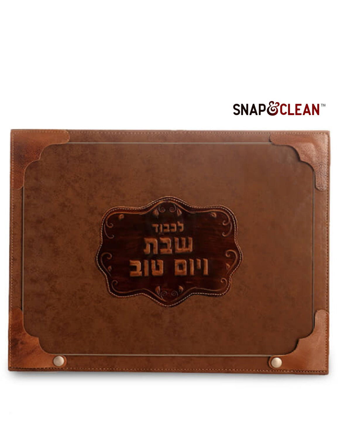 Challah Board With Snaps & Glass - Leather Decoration - Cognac