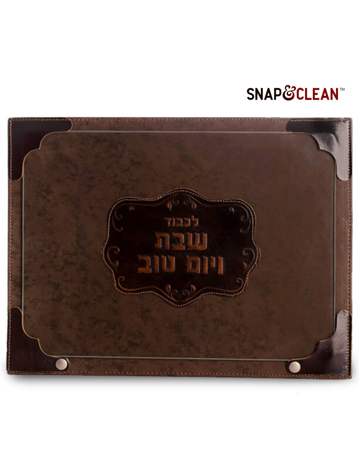 Challah Board With Snaps & Glass - Leather Decoration - Brown