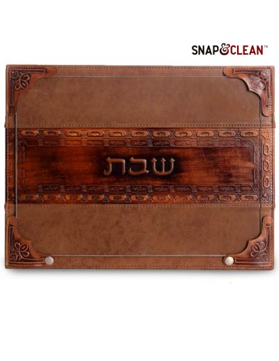 Challah Board With Snaps & Glass With Leather Stripe - Cognac